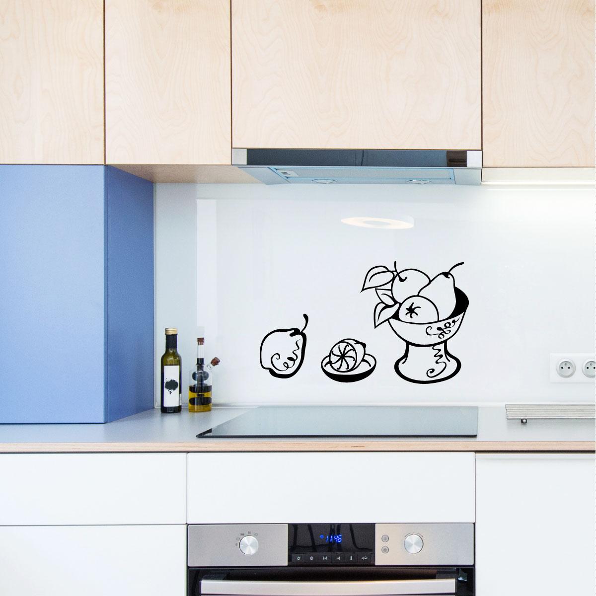 Stickers muraux pour la cuisine sticker fruits et bol - Stickers pour la cuisine ...