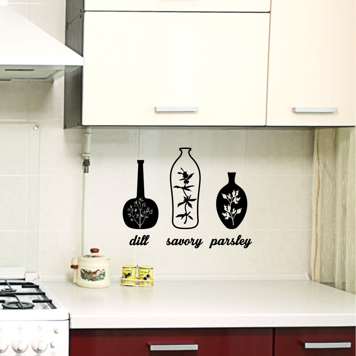stickers muraux pour la cuisine sticker herbes 1. Black Bedroom Furniture Sets. Home Design Ideas