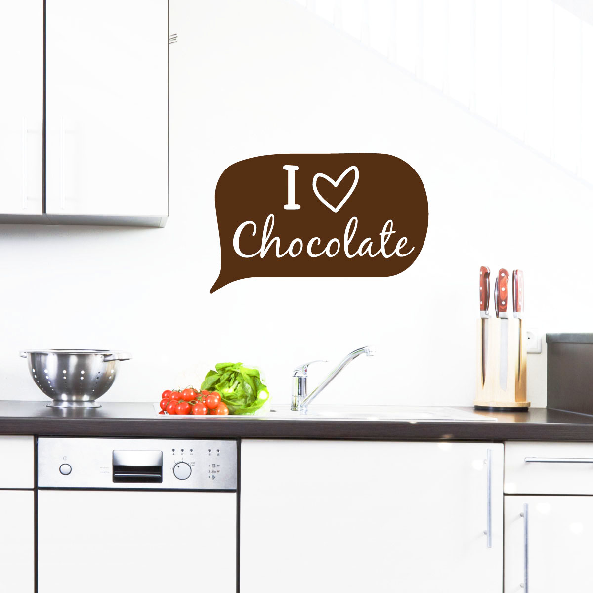 stickers muraux pour la cuisine sticker je aime le chocolat ambiance. Black Bedroom Furniture Sets. Home Design Ideas