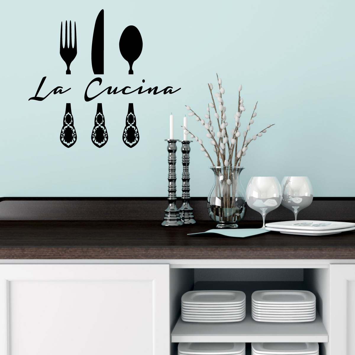 stickers muraux pour la cuisine sticker la cucina 2 ambiance. Black Bedroom Furniture Sets. Home Design Ideas