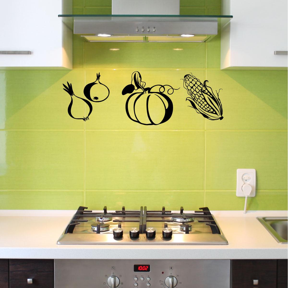 Stickers muraux pour la cuisine sticker l gumes pack 3 Stickers pour la cuisine