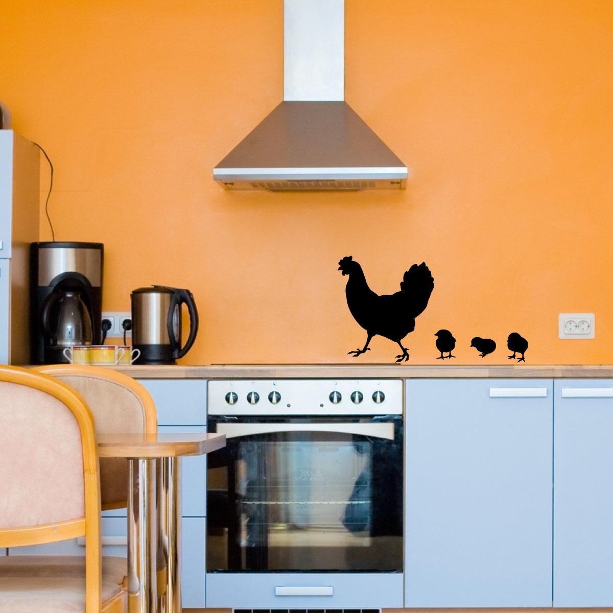Stickers muraux pour la cuisine sticker poule et poulet - Poule decorative pour cuisine ...