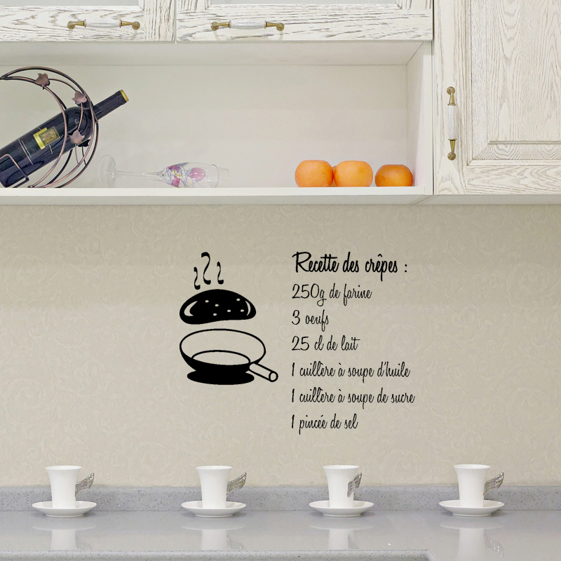 stickers muraux pour la cuisine sticker recette des crepes ambiance. Black Bedroom Furniture Sets. Home Design Ideas