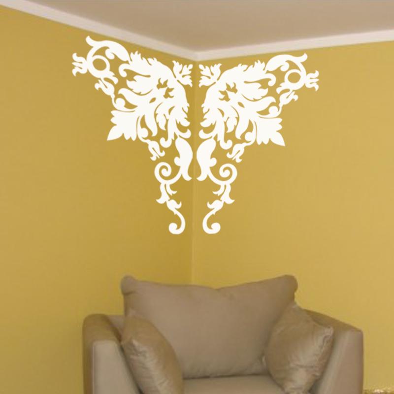 stickers muraux design sticker mural dcoration florale sur angle - Stickers Muraux Design Decoration