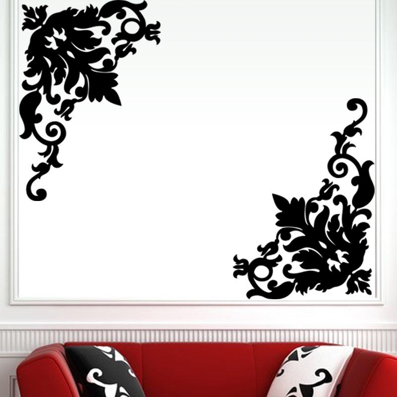 stickers muraux design sticker mural d coration florale sur angle ambiance. Black Bedroom Furniture Sets. Home Design Ideas