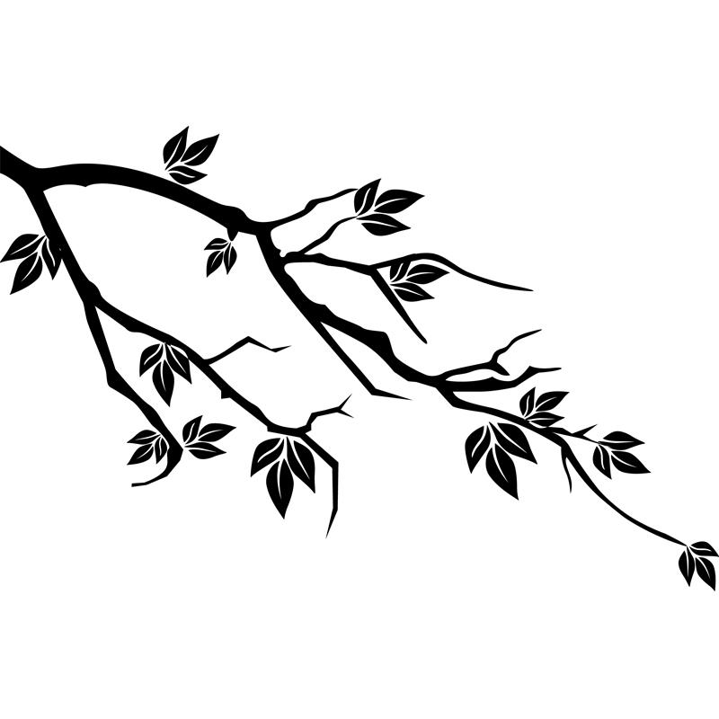 stickers muraux fleurs sticker design branche et feuilles ambiance. Black Bedroom Furniture Sets. Home Design Ideas