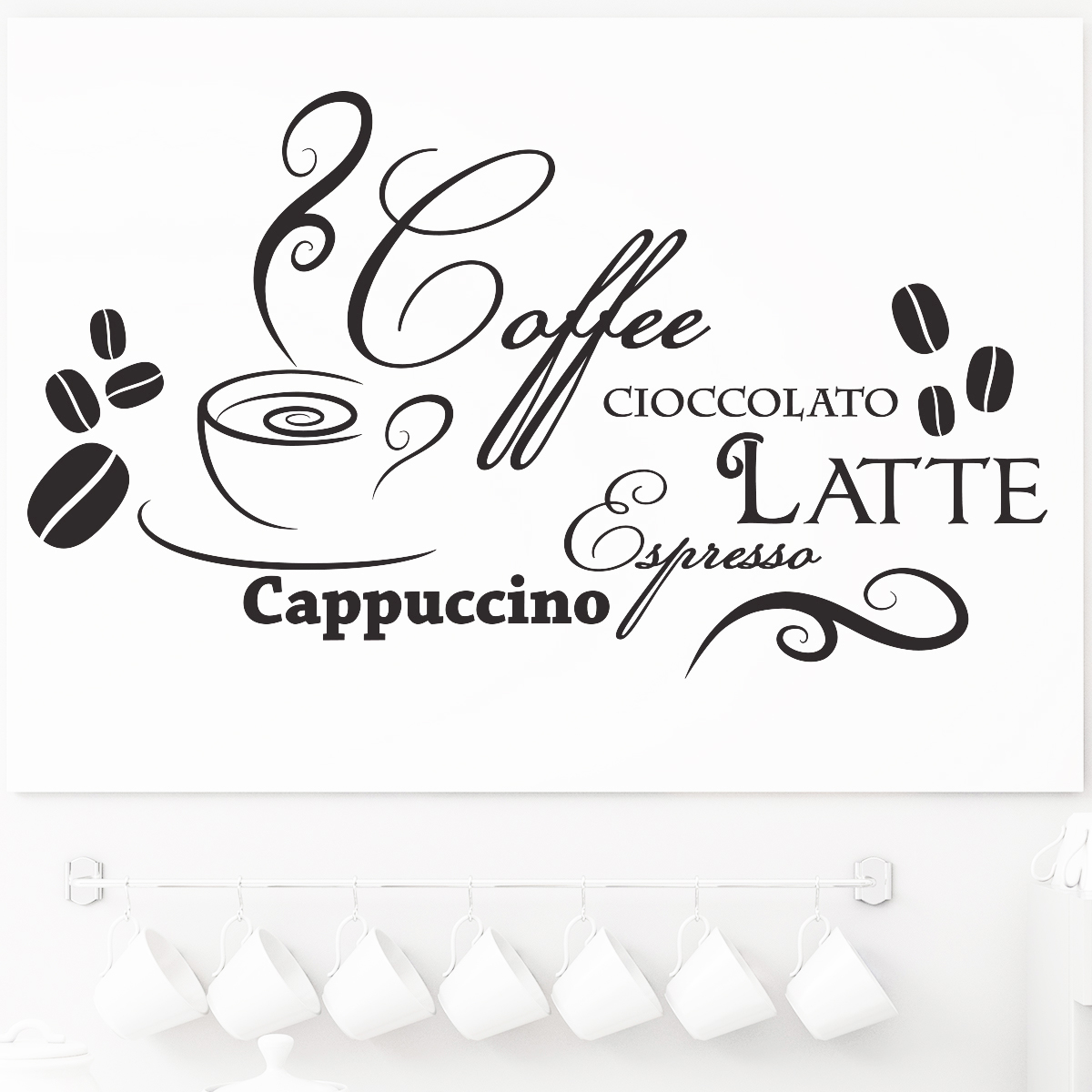 sticker design caf et chocolat stickers muraux pour la cuisine ambiance. Black Bedroom Furniture Sets. Home Design Ideas