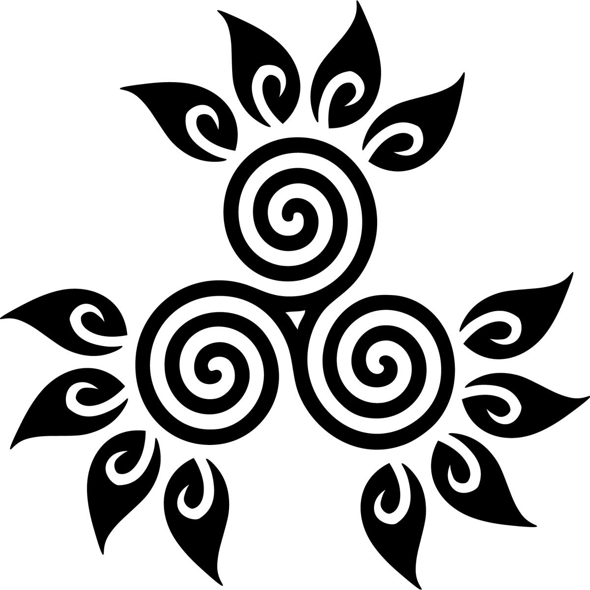 stickers muraux design design circulaire et feuilles ambiance. Black Bedroom Furniture Sets. Home Design Ideas