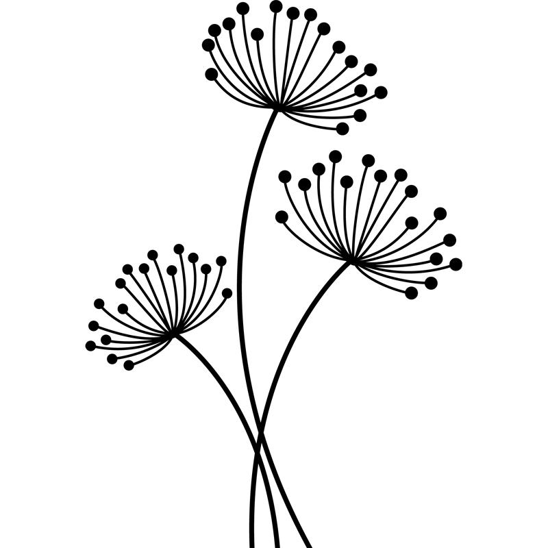 sticker design fleurs aux tiges minces stickers nature ambiance sticker. Black Bedroom Furniture Sets. Home Design Ideas