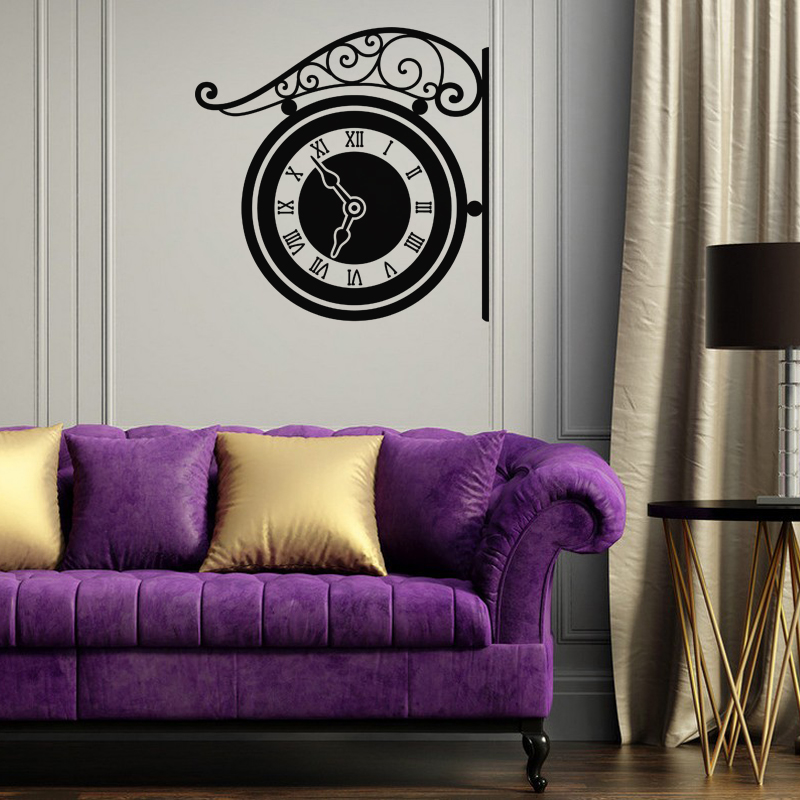sticker design montre murale stickers villes et voyages. Black Bedroom Furniture Sets. Home Design Ideas