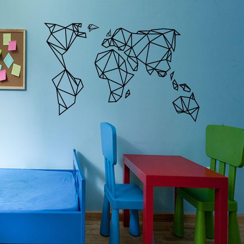sticker design origami carte du monde stickers villes et. Black Bedroom Furniture Sets. Home Design Ideas