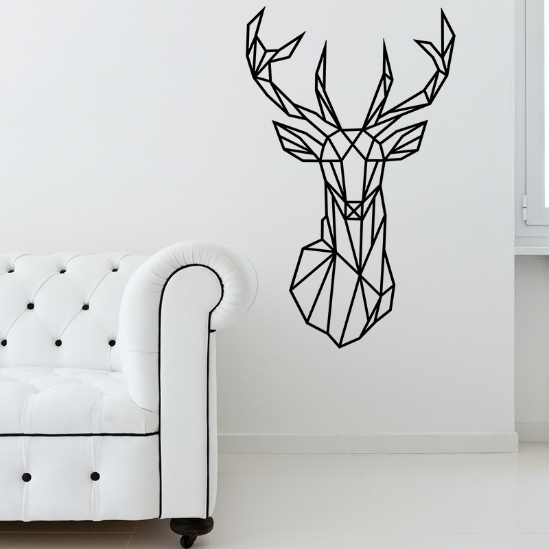 sticker design origami t te de cerf stickers animaux. Black Bedroom Furniture Sets. Home Design Ideas