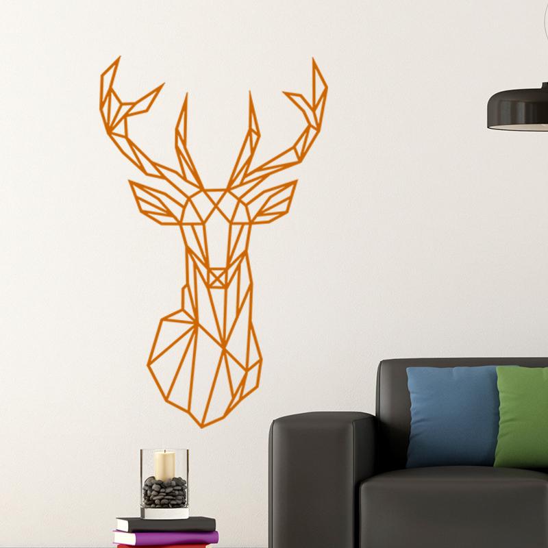 sticker design origami t te de cerf stickers animaux animaux de la for t ambiance sticker. Black Bedroom Furniture Sets. Home Design Ideas