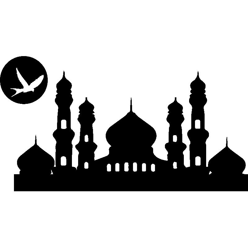 Sticker Design palais oriental et lune - Stickers Villes et Voyages ...