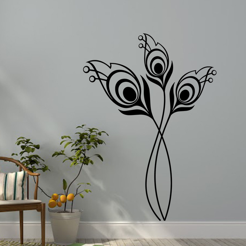 sticker design tiges avec bourgeons et fleurs stickers nature fleurs ambiance sticker. Black Bedroom Furniture Sets. Home Design Ideas