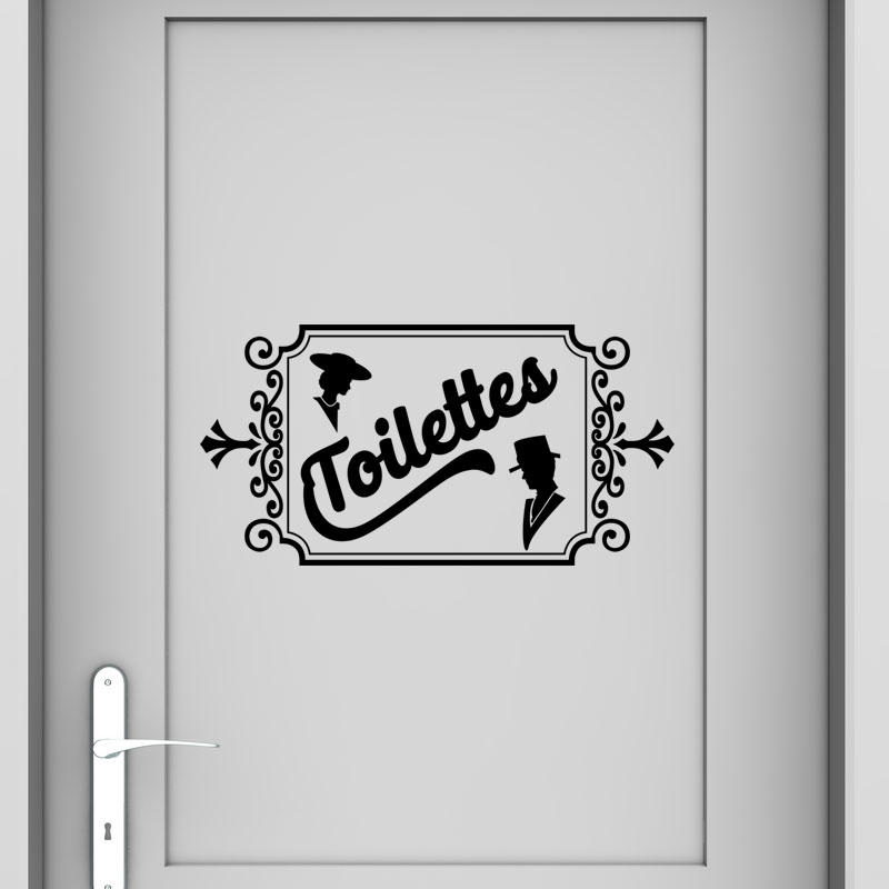 Sticker design toilettes standard stickers toilettes - Decor pour porte interieure ...