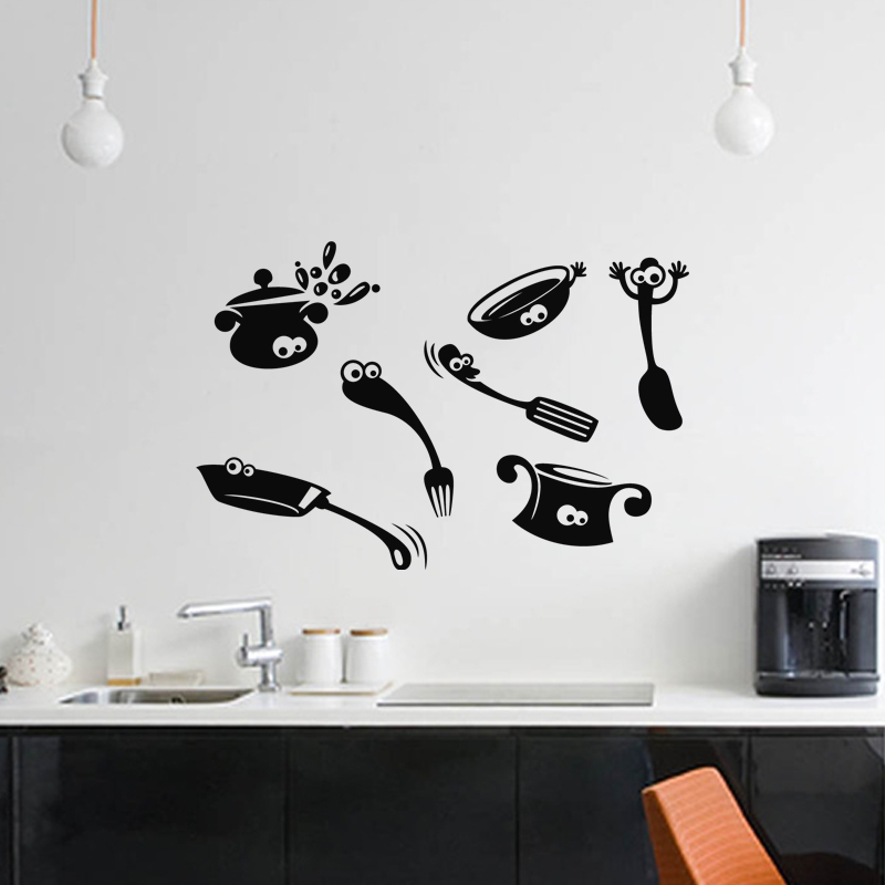sticker design ustensiles de cuisine stickers cuisine ustensiles ambiance sticker. Black Bedroom Furniture Sets. Home Design Ideas