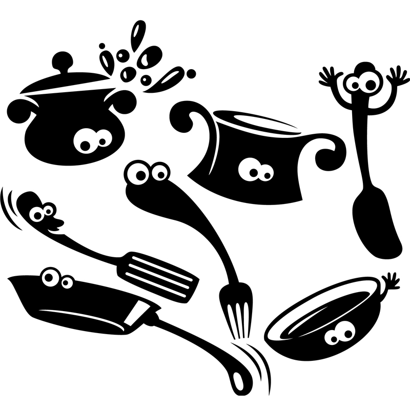 sticker design ustensiles de cuisine stickers cuisine ustensiles ambiance sticker. Black Bedroom Furniture Sets. Home Design Ideas