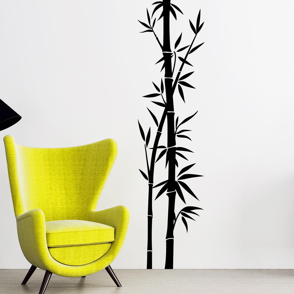 Stickers Muraux Fleurs Sticker Deux Tiges De Bambous Crois S