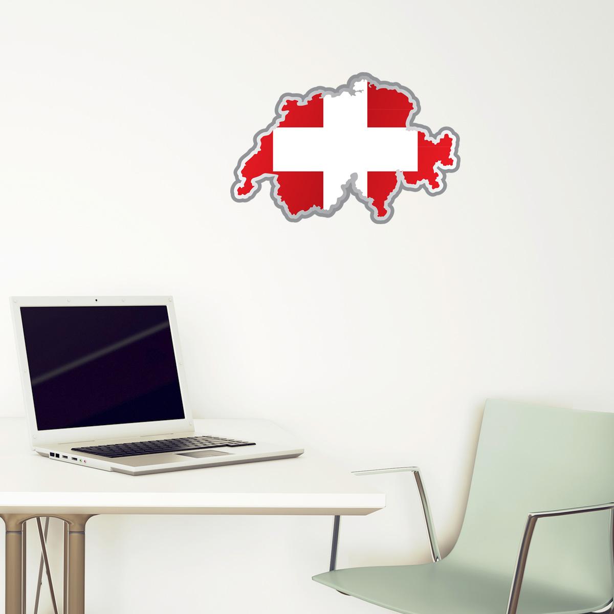 Stickers et autocollants voiture sticker drapeau suisse for Interieur stickers