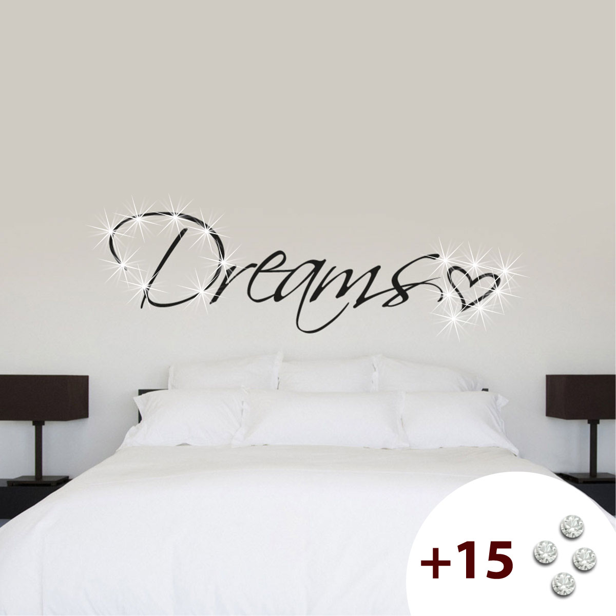 stickers muraux citations sticker dreams heart ambiance. Black Bedroom Furniture Sets. Home Design Ideas