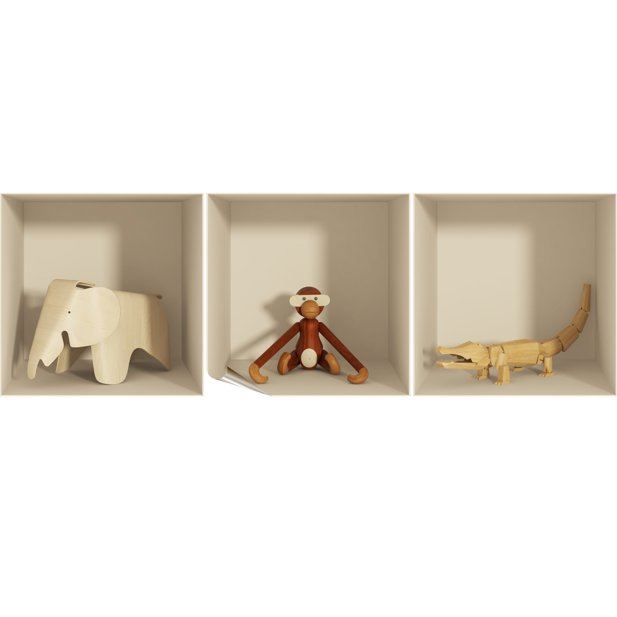 sticker 3d animaux en bois ambiance. Black Bedroom Furniture Sets. Home Design Ideas