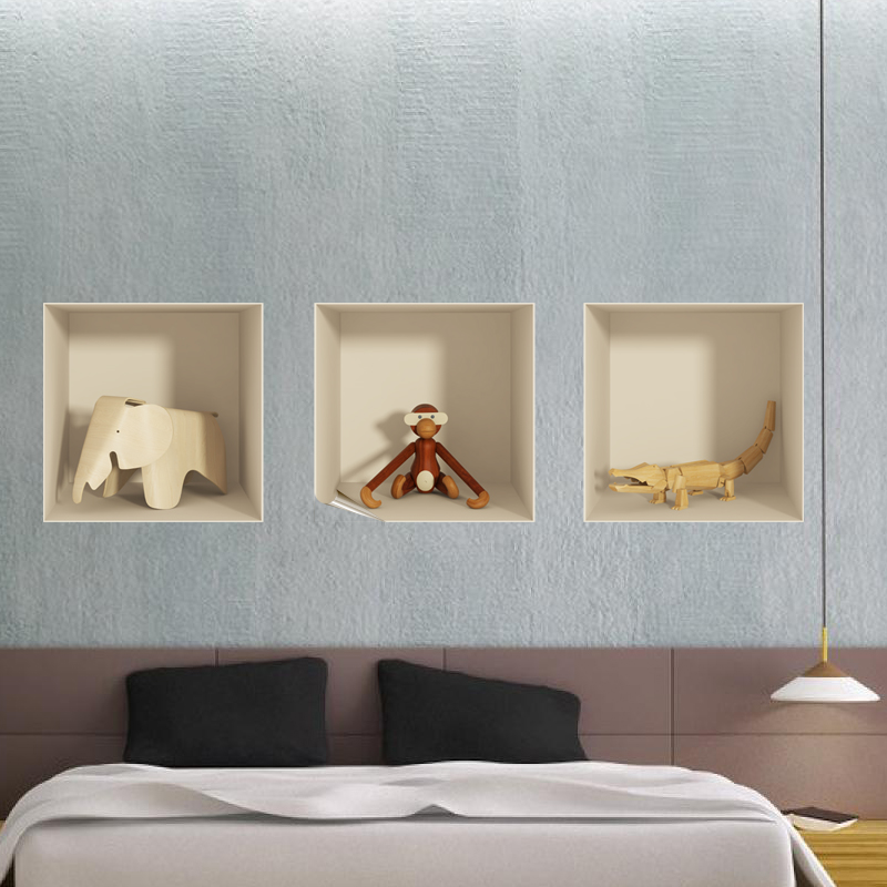 sticker 3d animaux en bois ambiance. Black Bedroom Furniture Sets. Home Design Ideas
