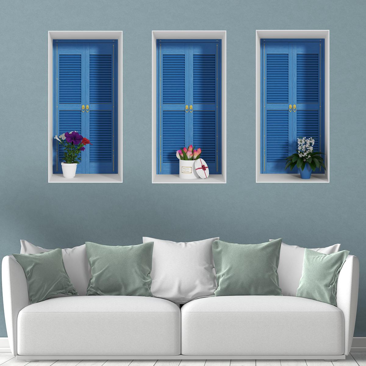 sticker effet 3d fen tres fleuries stickers nature fleurs ambiance sticker. Black Bedroom Furniture Sets. Home Design Ideas