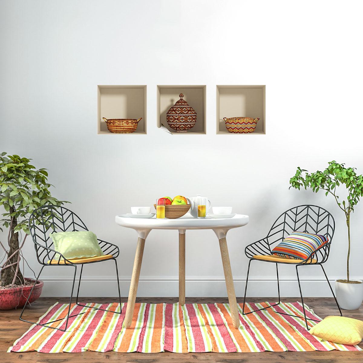 sticker effet 3d paniers africains stickers villes et voyages pays et voyages ambiance sticker. Black Bedroom Furniture Sets. Home Design Ideas