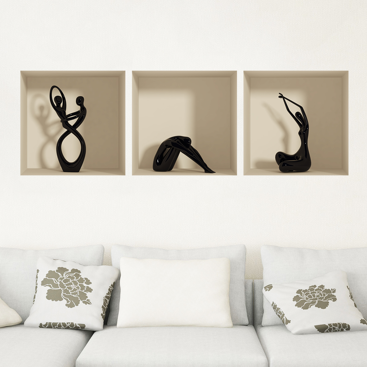 sticker effet 3d statues noir stickers art et design. Black Bedroom Furniture Sets. Home Design Ideas