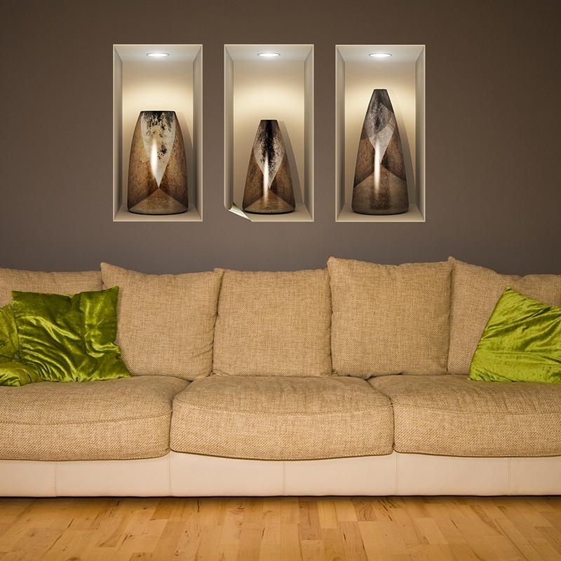 sticker effet 3d vases en bois vintage stickers art et design bandes verticales ambiance sticker. Black Bedroom Furniture Sets. Home Design Ideas