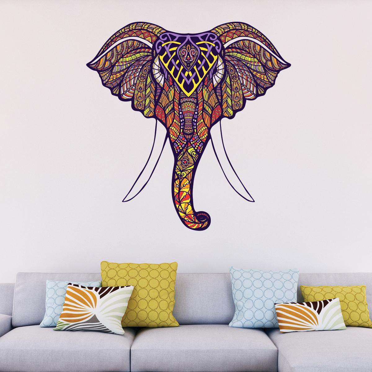 Sticker ethnique t te d 39 l phant stickers animaux animaux de la jungle ambiance sticker - Tete d elephant mural ...