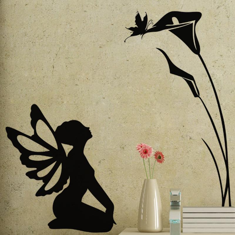 Sticker f e assis papillon et fleurs stickers filles - Image papillon et fleur ...