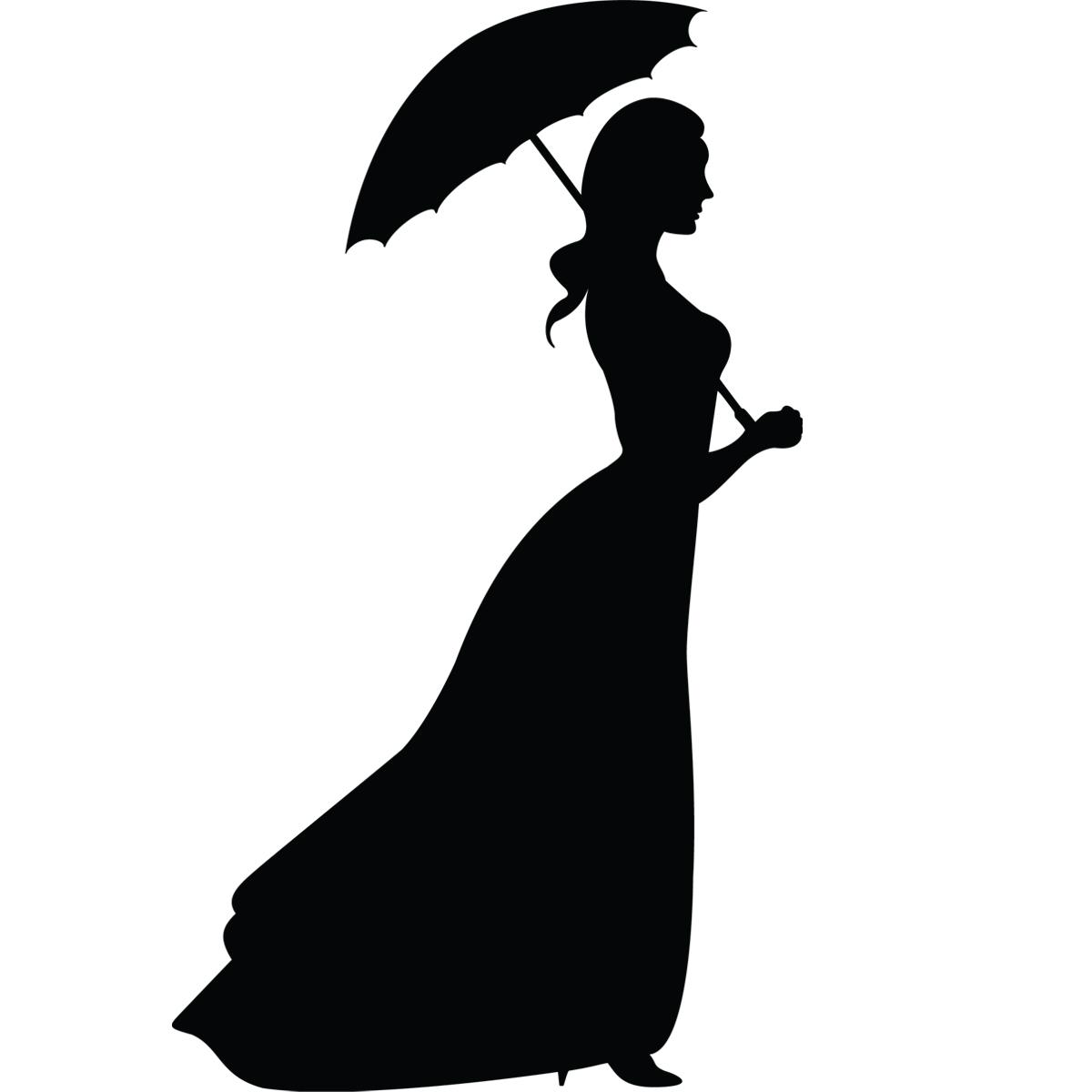 Stickers de silhouettes et personnages femme avec une - Parapluie dessin ...