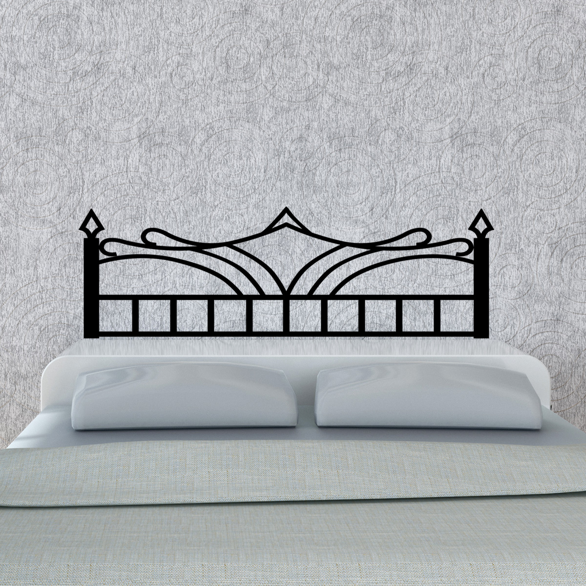 stickers muraux t tes de lit sticker mural fer forg lit double ambiance. Black Bedroom Furniture Sets. Home Design Ideas