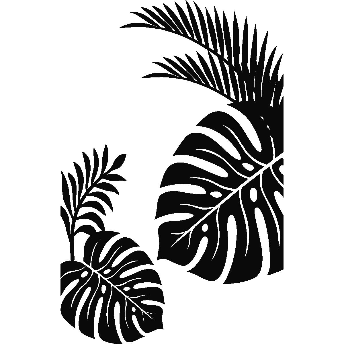 stickers muraux pour salle de bain sticker mural feuilles tropicales ambiance. Black Bedroom Furniture Sets. Home Design Ideas