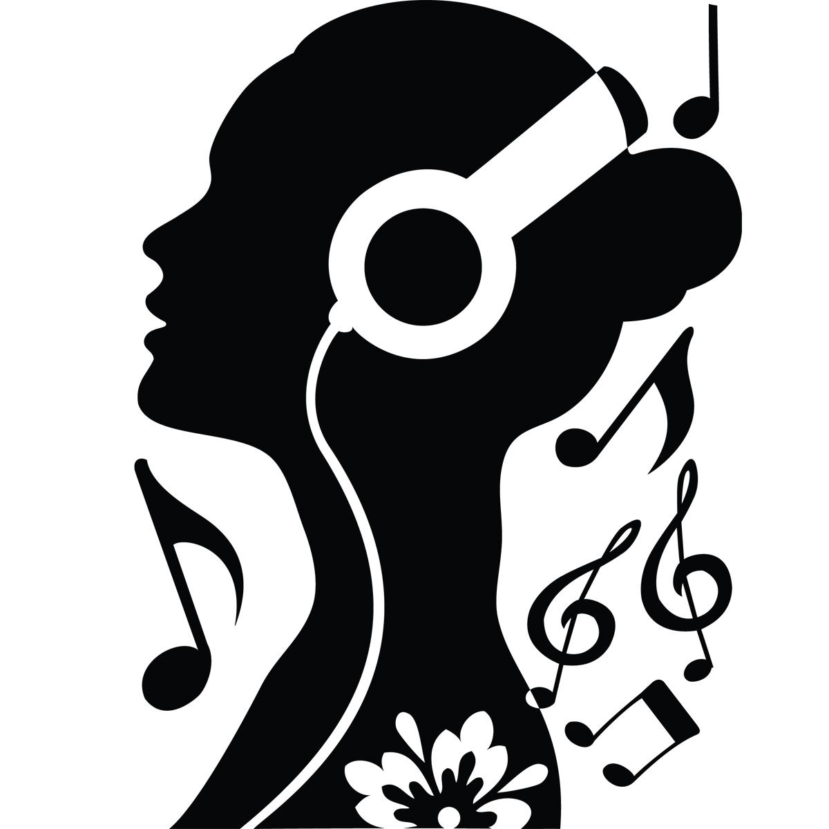 stickers muraux musique sticker fille avec casque ambiance. Black Bedroom Furniture Sets. Home Design Ideas