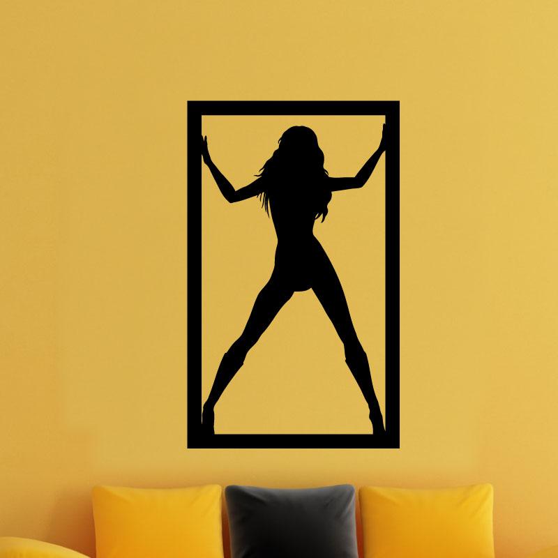 stickers muraux de silhouettes et personnages sticker fille dans un cadre ambiance sticker