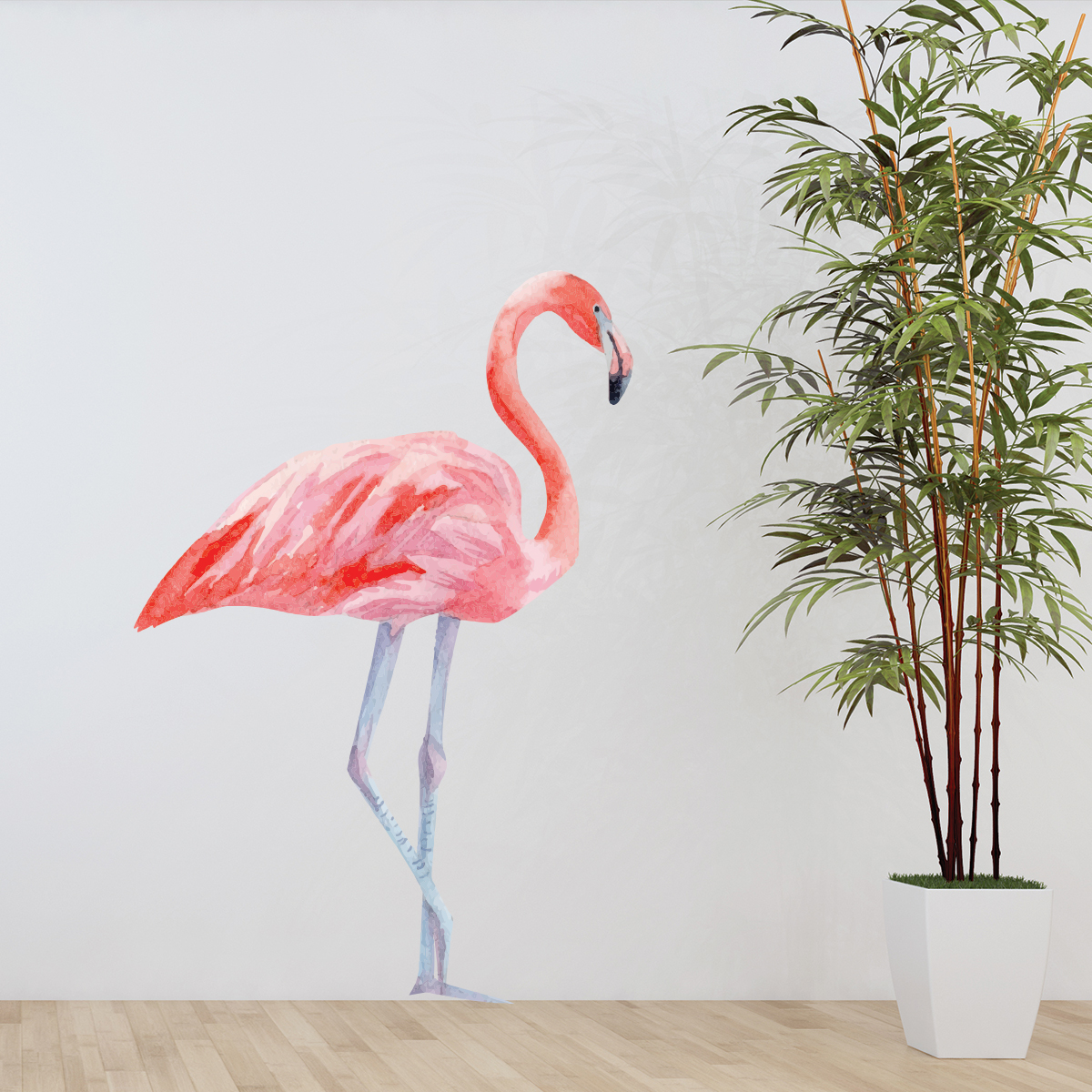 Sticker flamant rose stickers animaux oiseaux ambiance - Stickers flamant rose ...