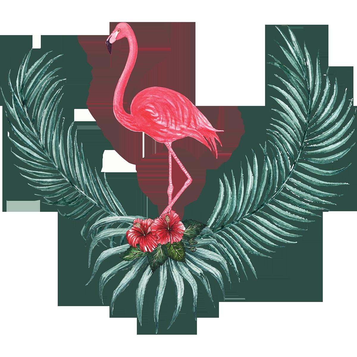 Deco Salle De Bain Flamant Rose ~ sticker flamant rose dans son nid garni stickers nature fleurs