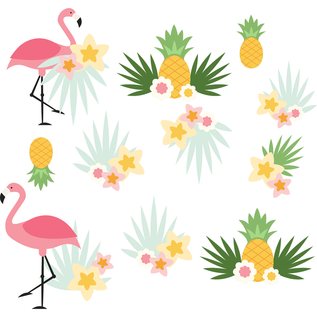Sticker flamants roses exotiques stickers nature fleurs - Stickers flamant rose ...