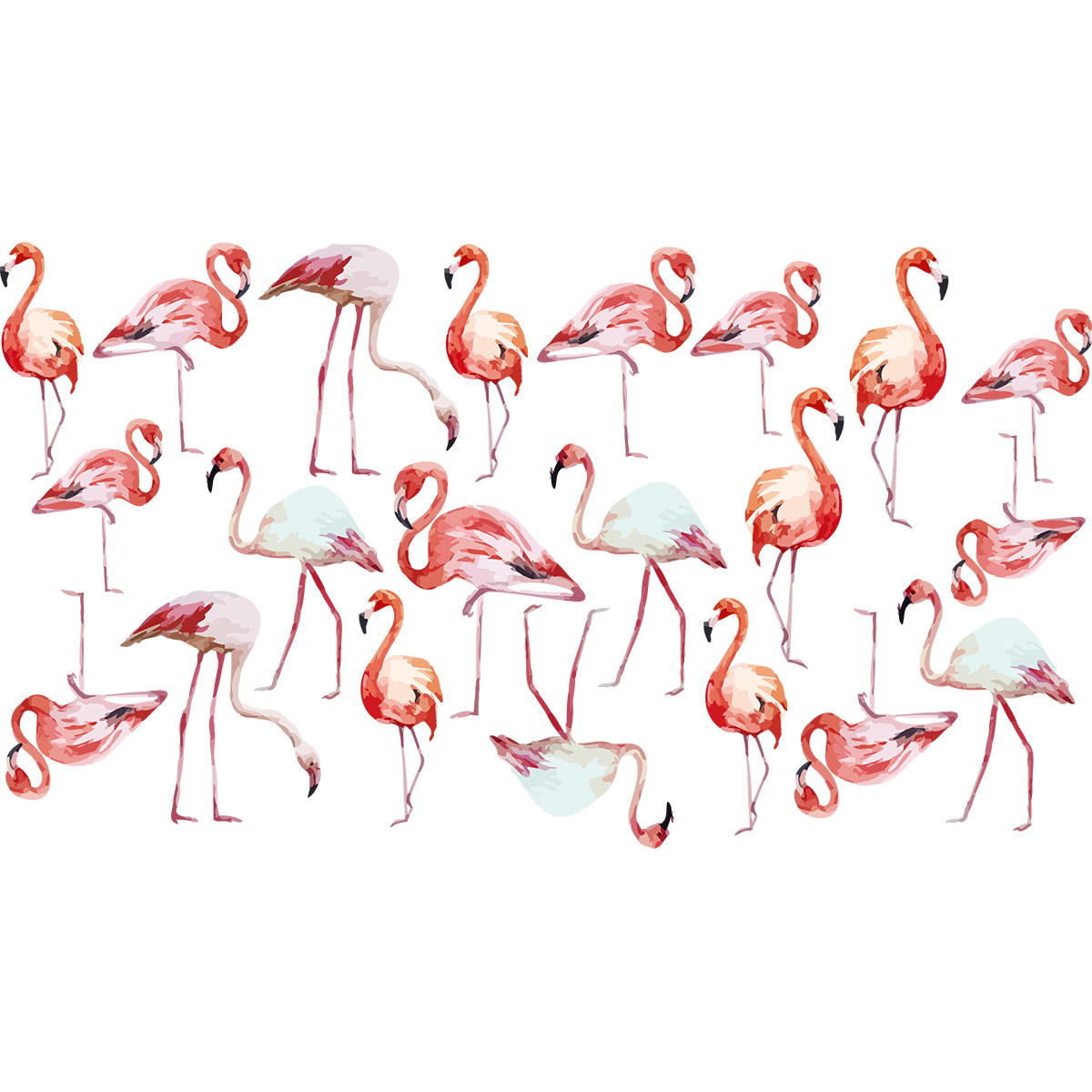 Sticker flamants roses vintage stickers animaux oiseaux - Stickers flamant rose ...