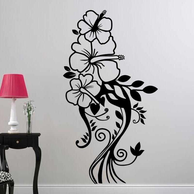 sticker fleur en trio harmonieux stickers nature fleurs ambiance sticker. Black Bedroom Furniture Sets. Home Design Ideas