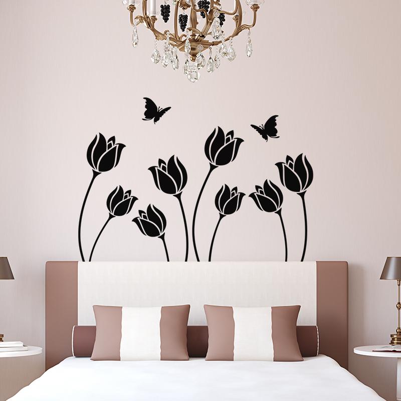 sticker fleur et papillon t te de lit stickers nature fleurs ambiance sticker. Black Bedroom Furniture Sets. Home Design Ideas