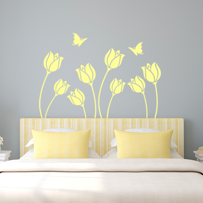 sticker fleur et papillon t te de lit stickers nature fleurs ambiance sticker. Black Bedroom Furniture Sets. Home Design Ideas