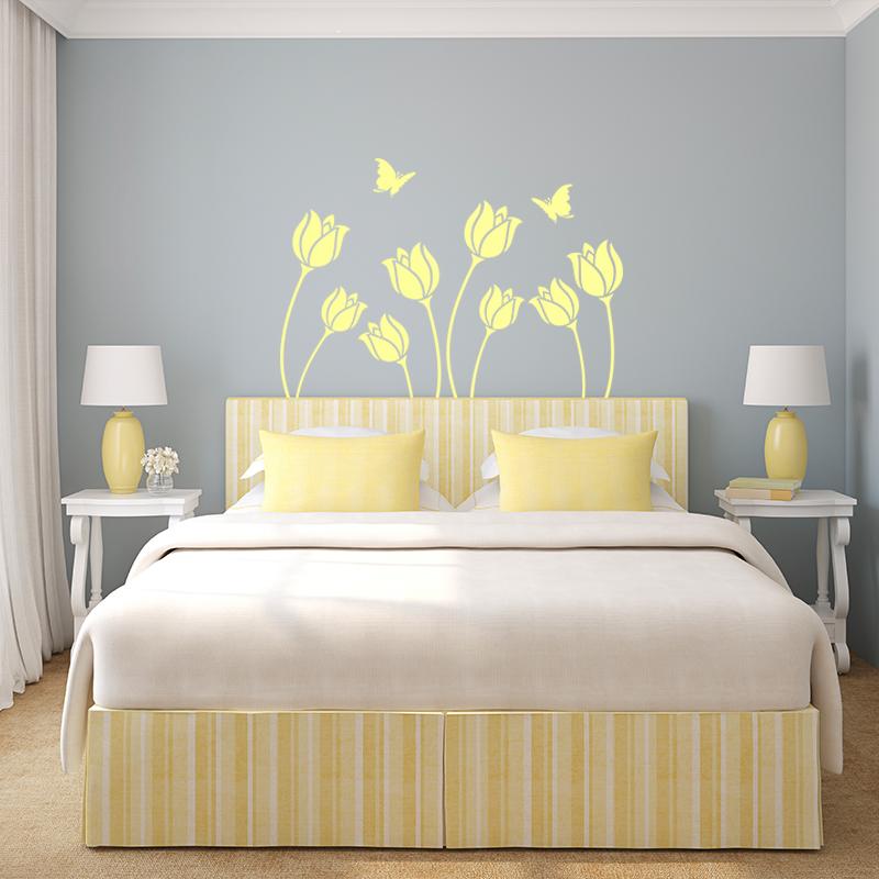 Sticker Fleur et papillon tête de lit – Stickers Nature