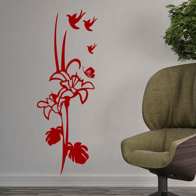sticker fleur papillons et oiseaux stickers nature fleurs ambiance sticker. Black Bedroom Furniture Sets. Home Design Ideas