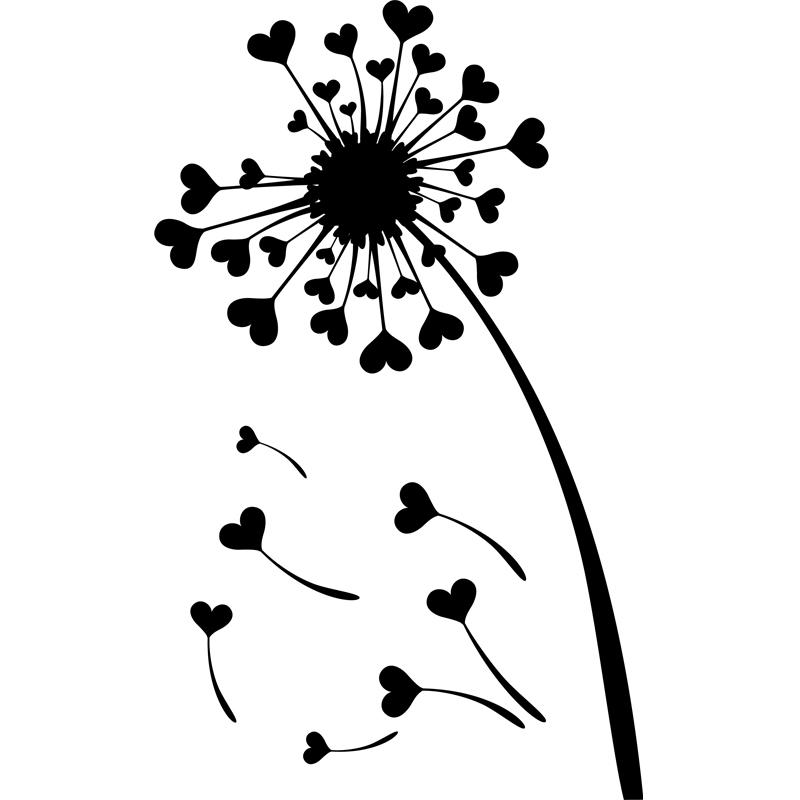 Sticker fleur pissenlits en coeurs stickers f tes - Dessin de fleur en noir et blanc ...
