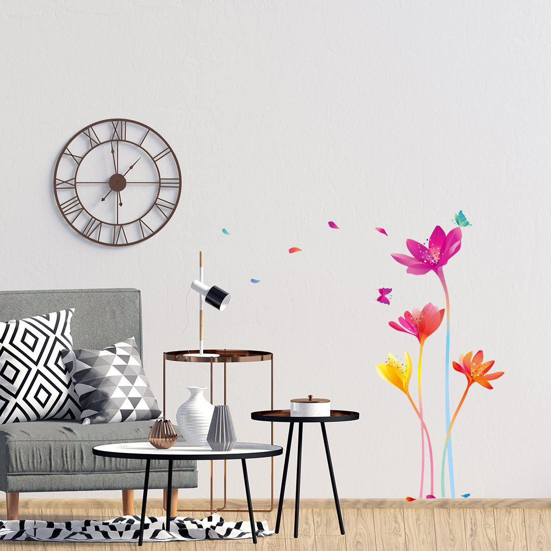 sticker fleurs arc en ciel ambiance sticker amb 20006 stickers muraux stickers d co de. Black Bedroom Furniture Sets. Home Design Ideas
