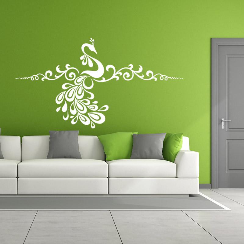 sticker fleurs c leste et son paon stickers animaux oiseaux ambiance sticker. Black Bedroom Furniture Sets. Home Design Ideas